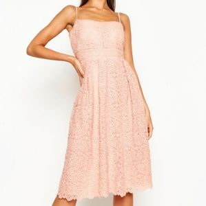 Blush embroidered midi dress with tags